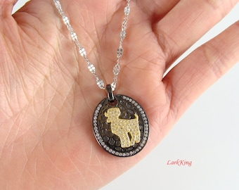 Sterling silver aries necklace, ram necklace, star sign necklace, zodiac necklace, horoscope necklace, birthday necklace, personalized, BN01