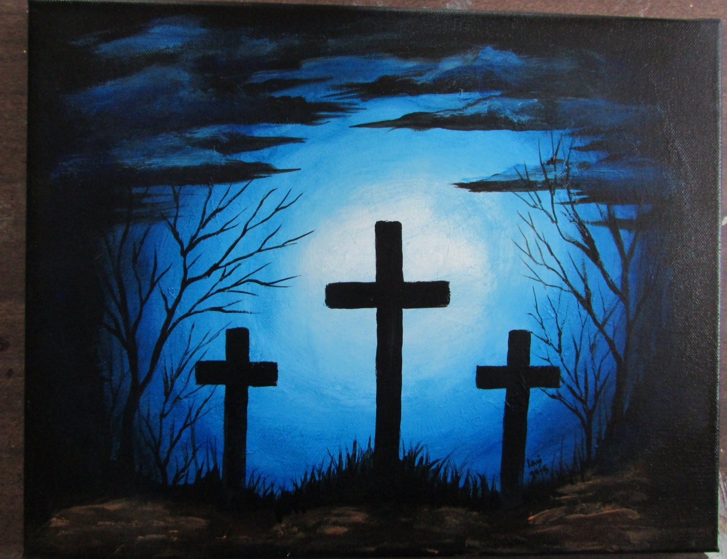 Holy crosses blue background painting 11 x 14 acrylic on for Cross paintings on canvas