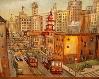 Mid Century Modern Art Painting Original San Francisco 1950s 1960s 50s 60s