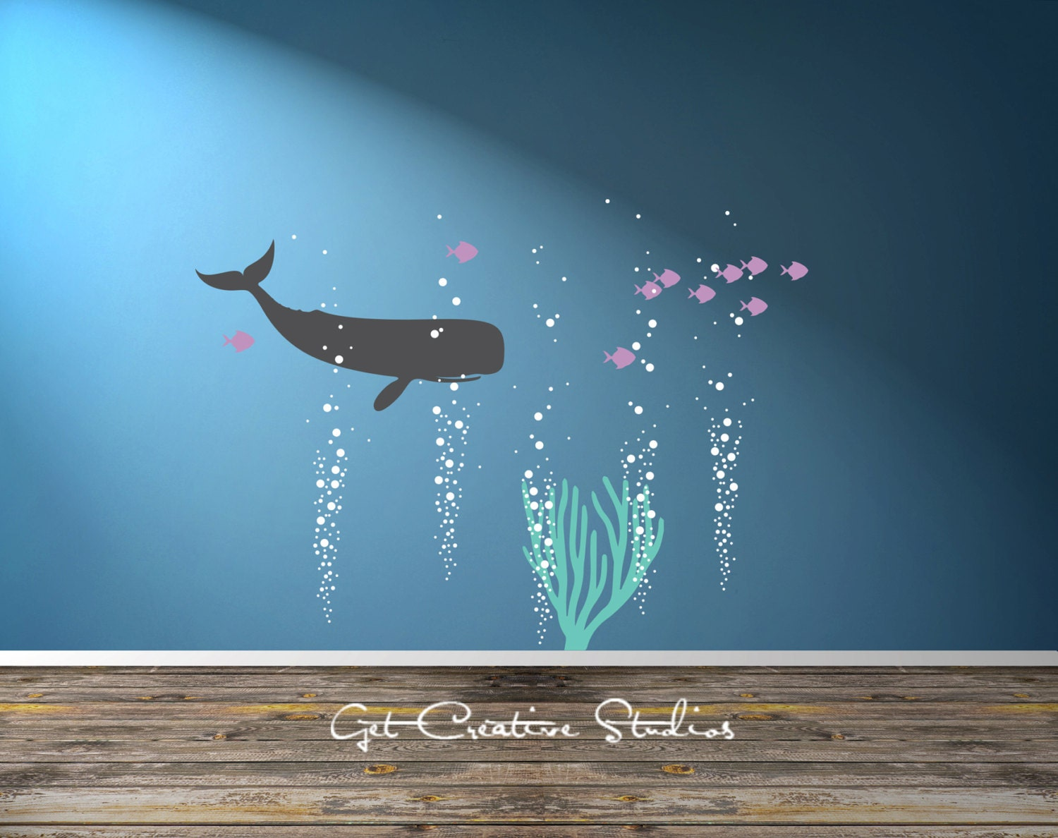 Wall decal ocean color the walls of your house wall decal ocean whale decal school of fish decal ocean scene decal whale wall amipublicfo Choice Image