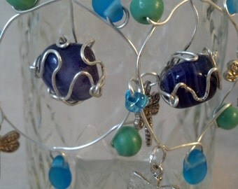Wire wrapped agate earrings; purple and blue, glass, dragonflies, semiprecious stone