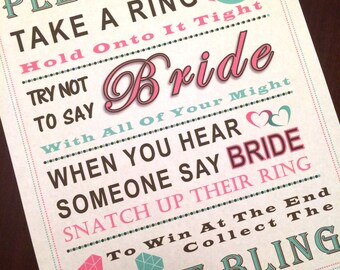 Bridal Shower Game: Don't Say Bride ***MINT & PINK RING***