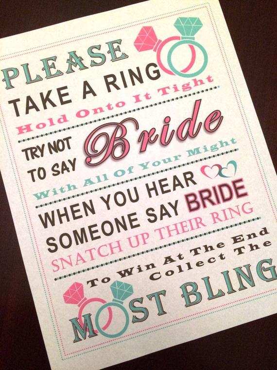 Bridal Shower Game: Don't Say Bride MINT & PINK RING
