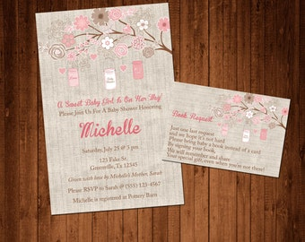 SALE 50% OFF Rustic Mason Jar Burlap and Flower Baby Shower Invitation and Book Request Card