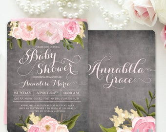 Baby Girl Shower Invitation, Floral Baby Shower Invite, Girl Baby Shower Invite Blush Pink Roses Peonies Chalkboard, Printed Printable Emily