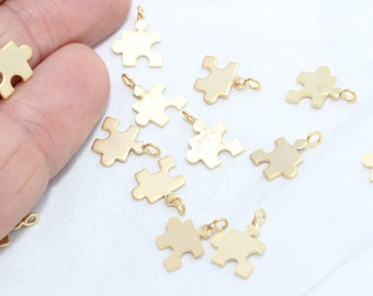 10 Pcs Matte Gold Puzzle Pendant , Gold Plated Puzzle Charm, Jewelry Charm Findings , Brass Pendant Charm, Gold Plated Charms BRT241