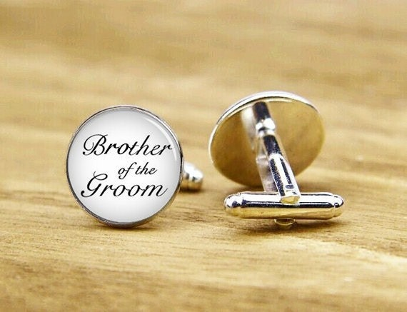 brother of the groom cufflinks, brother of the bride, brother gifts, custom wedding cuff links, round square cufflinks, tie clip or set