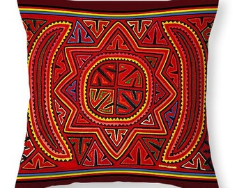 San Blas Kuna Indian Mola Printed Cotton Fabric Throw Pillow Gift - San Blas Kuna Indian Mola Printed PolyPoplin Tote Bag Housewarming Gift