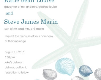 Printable Seashell Wedding Invitation