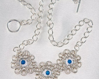 Sterling Silver Flowers and Blue Agate Chainmaille Necklace