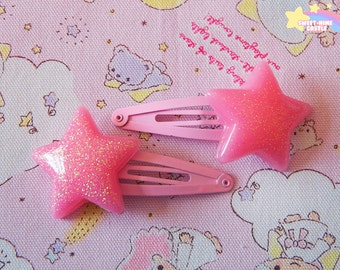 Pink Glitter Star Hair Clips