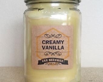 Creamy Vanilla Scented Beeswax Mason Jar Candle | 16 oz