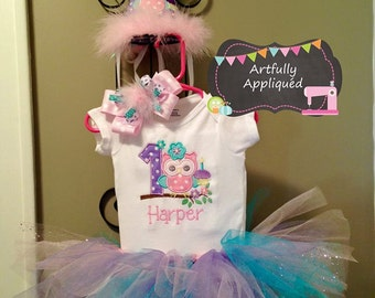 Owl Birthday Tutu Set