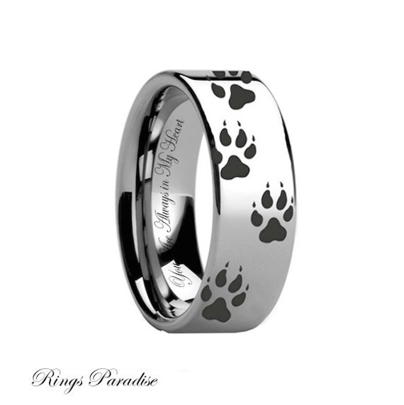 wolf print engraved ring engagement rings white tungsten