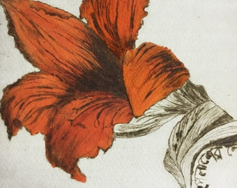 Original dry point Indian fine art etching print 'Flame of the forest' flower limited edition
