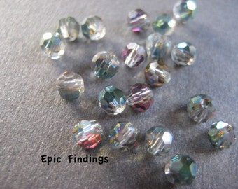 Sale!! Green, Plum, & Red Round Faceted Crystal 4mm Beads, Jewelry Supply, Craft Supply, Epic Findings
