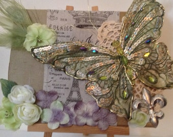 French Country ,Wall Art, Shabby Chic, Country Chic, Collage, Assemblage, Mixed Media