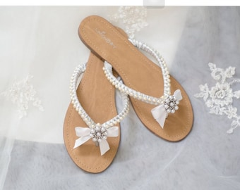 wedding sandals with pearls and rhinestone custom made bridal beach custom sandals wedding sandals