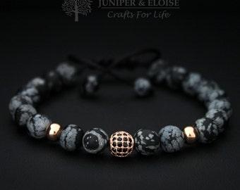Bracelet For Men, Christmas Gift, 8 mm Matte Obsidian Stone Rose Gold Color Focal Beads, Adjustable Bracelet For Women, Karkötő, Pulseira