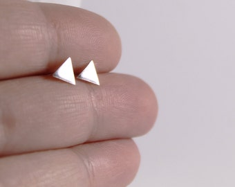 Silver Triangle Studs // Tiny Geometric Handmade Earrings // Sterling Silver Minimalist Studs