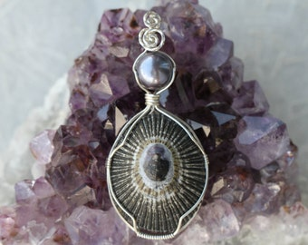 Wire Wrapped Hawaii Shell Pearl Pendant Sterling Silver Handmade