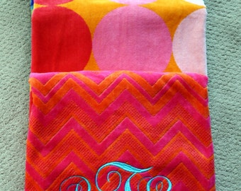 Monogrammed Beach Towel~Large Monogram Beach Towel