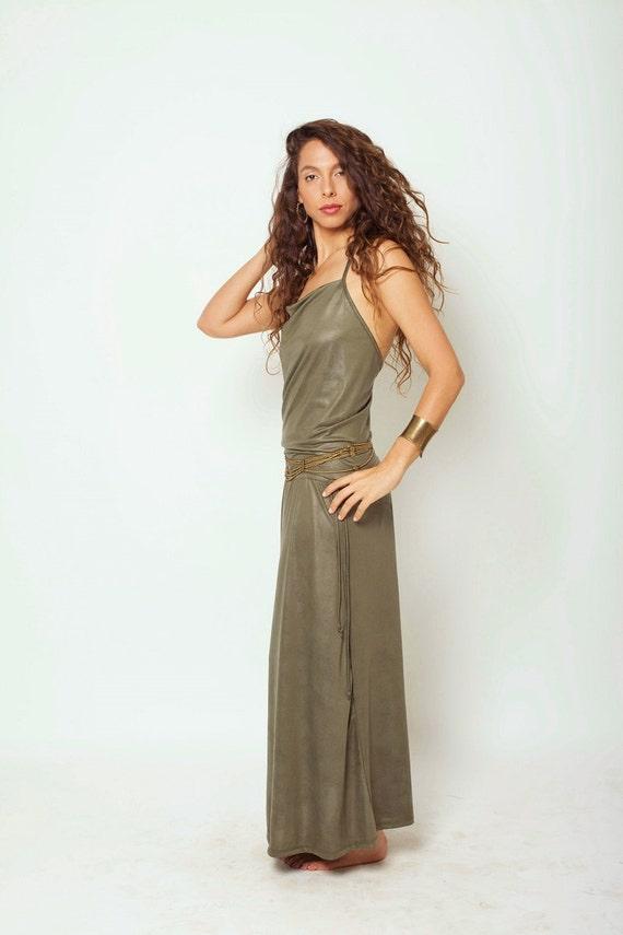 SALE 40% OFF Green Boho Maxi Dress Bohemian Cocktail Dress