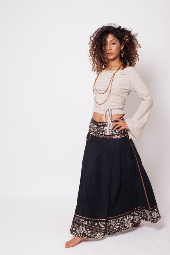Bohemian Skirt Boho Skirt Bohemian Clothing Black Gypsy