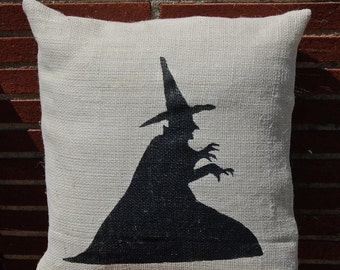 Halloween Pillow, Witch Pillow, Burlap Pillow, Halloween Decoration, Wicked Witch, Wizard of Oz, Melting Witch, I'm Melting, Halloween Decor