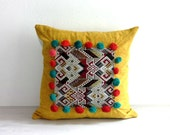 "Bohemian Pillow Cover 18 x 18"", Pom Pom Pillow, Hippie Boho Decor Throw Pillow Case, Bohemian Cushion Cover, Ykk Hidden Zipper, Yellow"