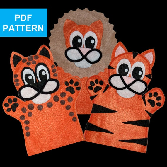 Items similar to lion tiger and cheetah felt hand puppet for Tiger puppet template