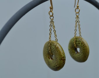 Green Ceramic Discs Dangling Chain Earrings