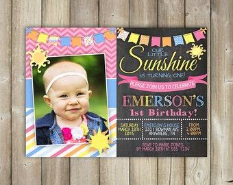 LITTLE SUNSHINE BIRTHDAY Invitation, Our Little Sunshine, Summer Birthday Invitation, Girls Birthday, First Birthday, Digital File
