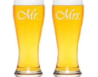 Mr Mrs Beer Glasses / Personalized Glasses / Engraved / Custom / Wedding / Anniversary / Add your Name or Date / 48 DESIGNS