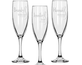 Personalized Champagne Glasses / Bridesmaids Gifts / Engraved / Etched / Wedding Glasses / 16 DESIGNS / Select ANY Quantity