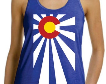 Colorado Flag Rising Sun RacerBack Ladies FLowy Tank Top  Workout Gym Running Fitness Yoga Exercise Souvenir  Unique Gift