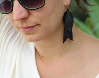 Black feather earrings - handmade from upcycled bike inner tubes