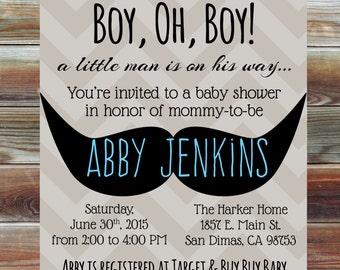 Mustache Bash Baby Boy Shower Invitation - Oh Boy Baby Shower Invitation - Little Man Mustache Baby Shower Invite - Mustache Baby Shower