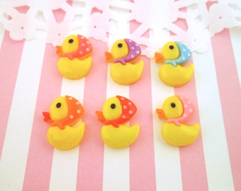 Yellow Rubber Ducky Resin Cabochons, Cute Duck Duckies with Hats, #365a