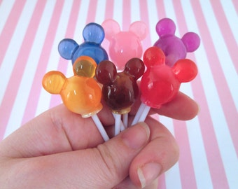 3 Random Marbled Mouse Ear Lollypops, Faux Candy, #761