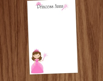 Girls Princess Notepad Note Memo Pad - Personalized Stationery Stationary Gift for Girls - Crown Wand Note Pad Gifts