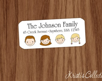 Return Address Labels Stickers - Custom Personalized Family Stick Figure Gift