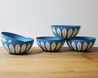 "SALE // 5 Cathrineholm bowls // blue and white lotus // bowl 5.5"" // robins egg blue // listing for 5 bowls"