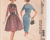 Vintage McCall's Sewing Pattern 6444 Fit and Flared Dress or Fit and Straight Dress Junior Size 13 Bust 33