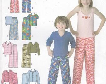 Children's Pajamas Pajama Pants Pajama Tops Simplicity Sewing Pattern 3669 Child's Size 3 4 5 6