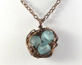 Bronze Nest Pendant, Bird Nest Necklace, Blue Egg Nest Pendant, Bird Nest Pendant, Mothers Day Gift, Baby Shower Gift, Nest Jewelry