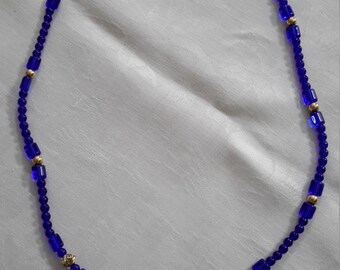 Rich, dark blue beaded necklace