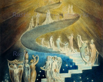 "William Blake ""Jacobs Ladder"" 1806 Reproduction Digital Print Staircase to Heaven Sun Angels Judaism"