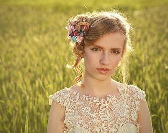Flower Hair clip wedding clip floral hair clip elegant bridal hair accessories pink turquise