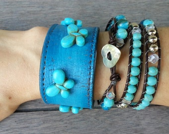 Turquoise Blue Butterfly Beaded Agate Wrap Bracelet Upcycled Leather Cuff Stacking Set